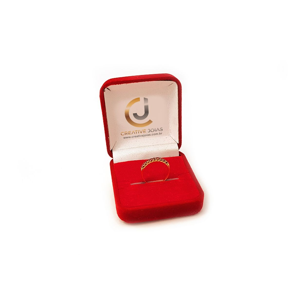 Meia Aliança Com Pedras Vermelhas - R  446,55 em Mercado Livre ff6671b644