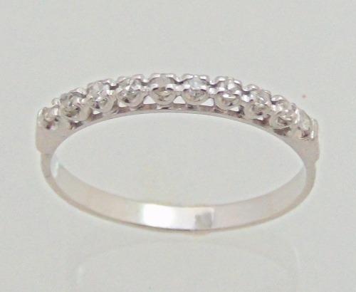 Meia Aliança De Ouro Branco 0,20 Cts Diamantes - Feliz Joias - R ... de7e24eff6