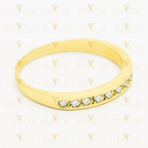 meia aliança de ouro com 14 diamantes de 2 pontos an018