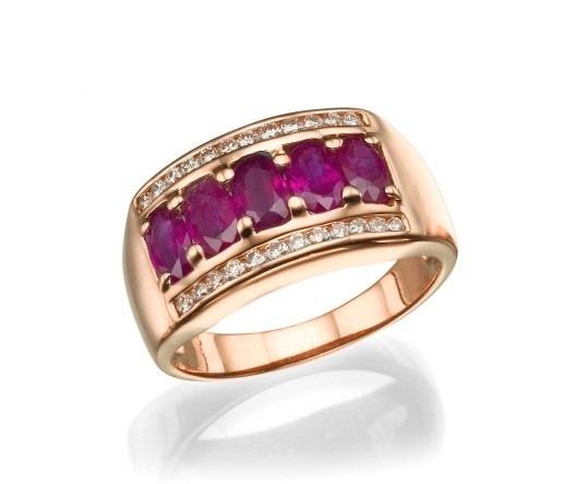 dbf785ad795bd Meia Aliança Em Ouro 18k Com Rubi E Diamantes