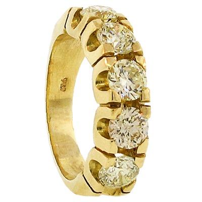 639469ca8fb0f Meia Aliança Em Ouro Amarelo 18k Com Diamantes - R  33.000,00 em ...