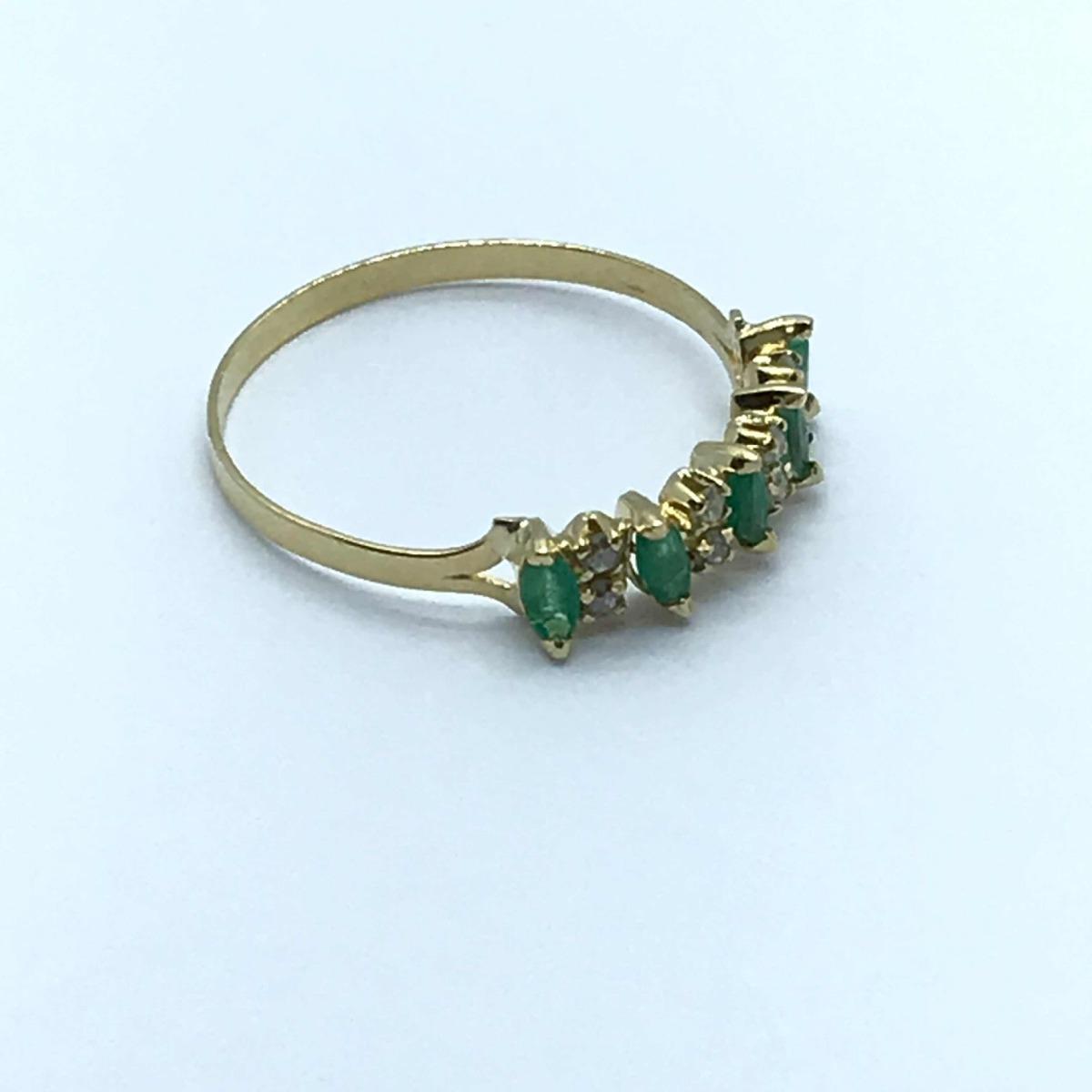 c32865e775377 meia aliança ouro 18k 6 esmeralda 8 brilhante anel aparador. Carregando  zoom.