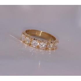 Meia Aliança Ouro Amarelo 18k E 1,50cts Diamantes Brilhantes