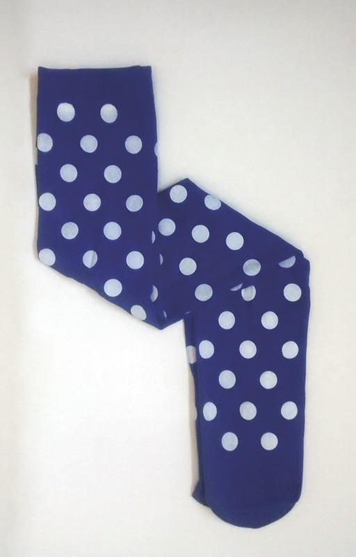 b5545e365 Meia Calça 7 8 Azul Bolinhas Carnaval Fantasia Poá Branco - R  19