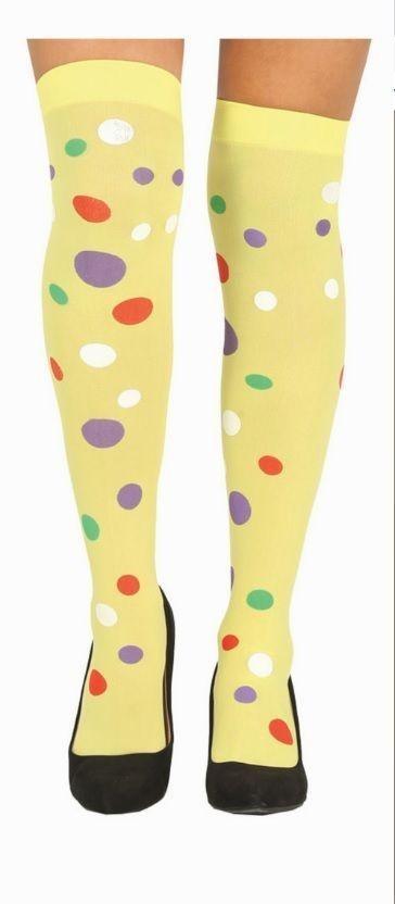 778500007 meia calça 7 8 de palhaço amarela com bolinhas colorida. Carregando zoom.