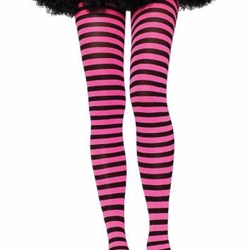 7dc315156 Meia-calça Fashion Listrada Preta E Rosa Leg Avenue - R  45