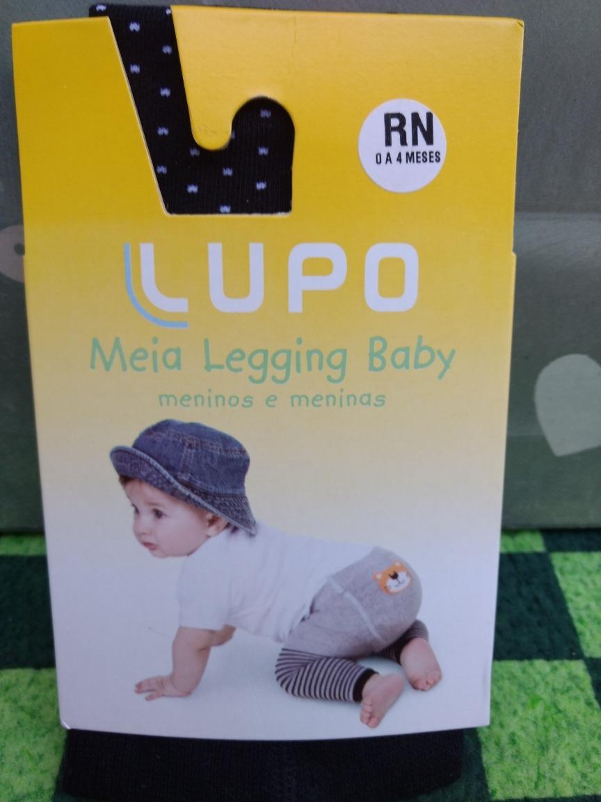 fc9c8a8818 Meia Calça Legging Bebê Lupo Baby Preto Branca Rn 0 A 4 Mese - R  30 ...