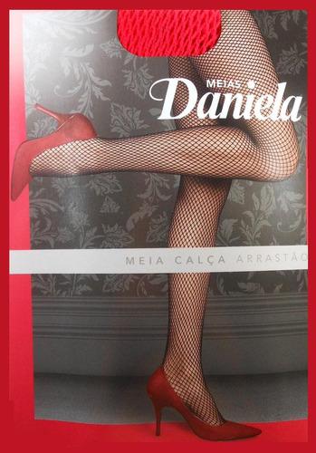 meia calça lingerie de renda arrastão vermelha  pra fantasia