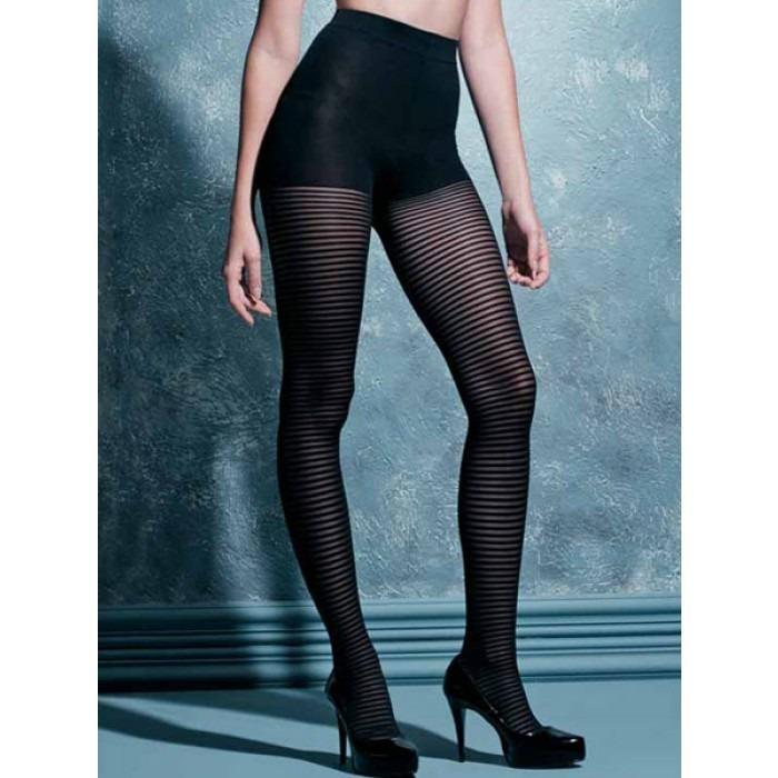 eb84067cbe Meia-calça Listrada Preta Scala Fashion Sexy Moda Fio 40 - R  19