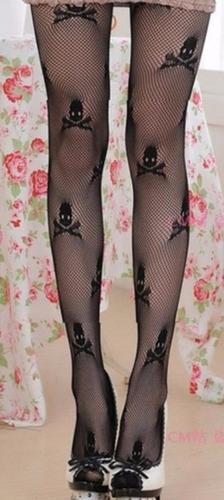meia calça preta arrastão caveira vintage punk rock gotico