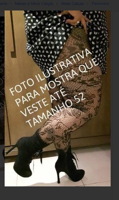 360d12237 Meia Calça Renda Preta Plus Size Veste 48/52 Loba - R$ 69,90 em ...