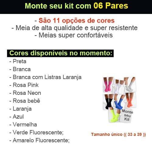 meia cano médio aerobica academia feminina kit 06 pares