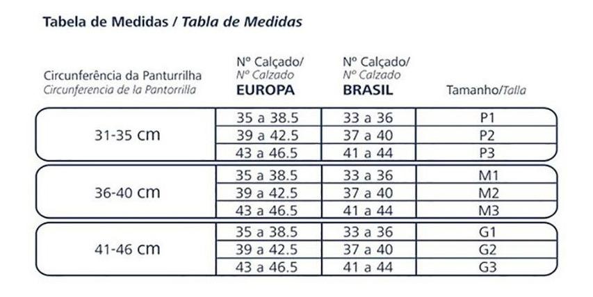 Resultado de imagem para tabela de medidas meia performance