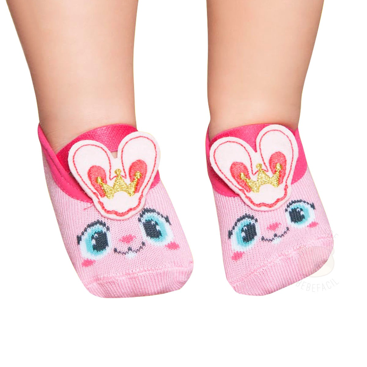 83b558a6d meia sapatilha para bebê coelhinha rosa - puket. Carregando zoom.