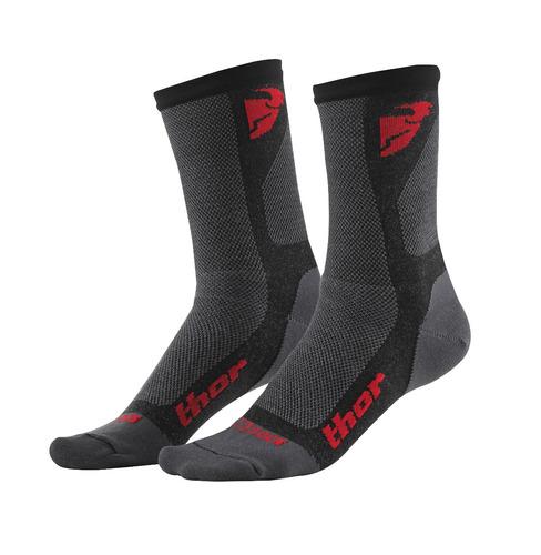 meias thor dual sport masc. cool max cinza/red 6-9 carvão/