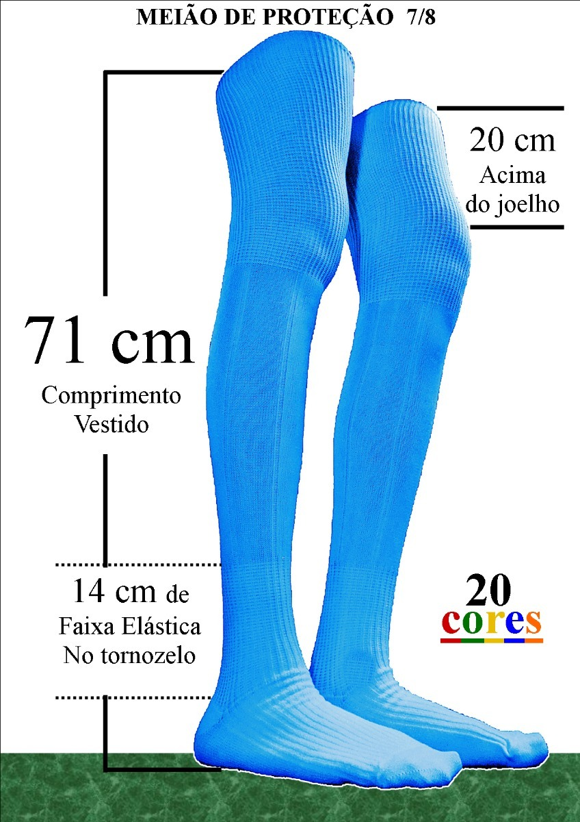 Meião Profissional Pró-goleiro Proteção 7 8 + Comprido Preto - R  23 ... 010d443f5c0f0
