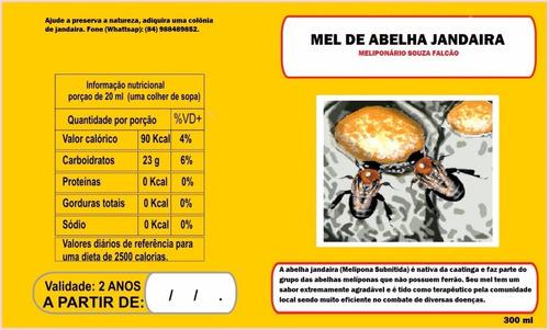 mel jandaira 100% natural e orgânico - medicinal - 300 ml