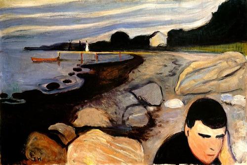 melancolia homem triste praia 1892 pintura munch tela repro