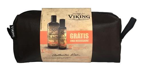 melhor kit barba viking shampoo + condicionador + necessaire