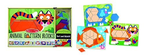 melissa doug animal pattern blocks set con 5 paneles de made