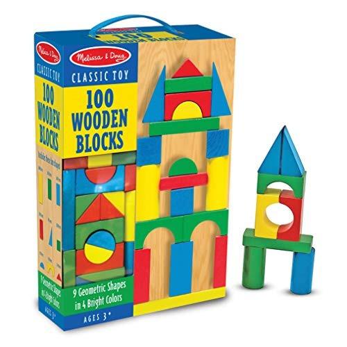melissa - doug bloques de construcción de madera - 100 bloqu