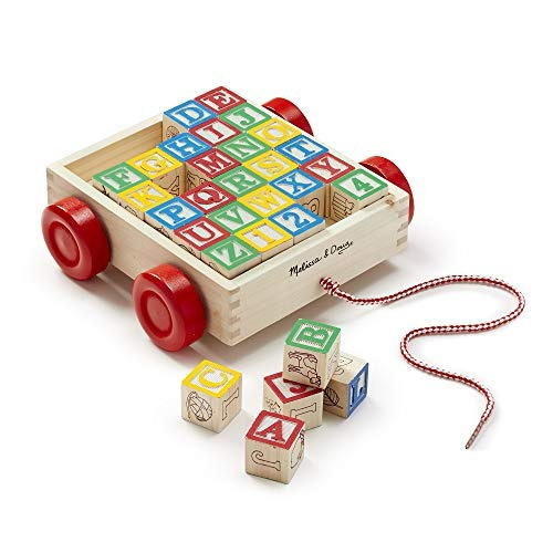 melissa  doug classic abc wooden block cart juguete educativ