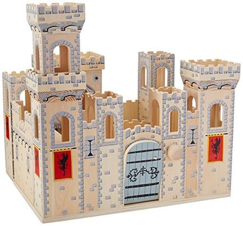 melissa & doug deluxe plegable castillo medieval de madera -