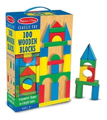 melissa & doug juego de bloques de madera para construcción,
