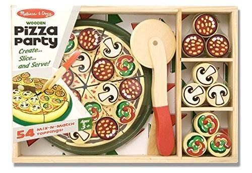 Melissa U0026 Doug Pizza Party Juego De Cocina De Madera Con 54