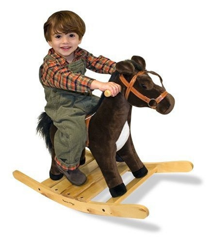 melissa & doug plush rocking horse - base y asas de madera