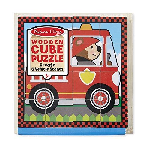 melissa  doug vehicles puzzle de cubo de madera con bandeja