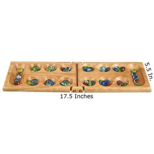 melissa madera plegable mancala juego de mesa - 17.5 pulgada