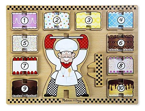 melissa y doug cake baker puzzle de madera maciza y apilamie