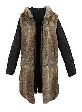 melodía para mujer lujosa cuello de piel de mapache con capu