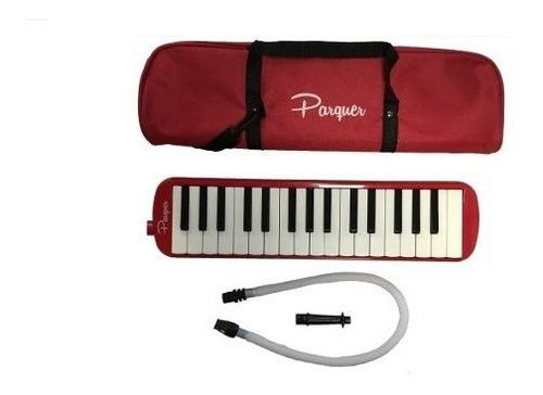 melodica a piano parquer 32 notas roja con funda manguera