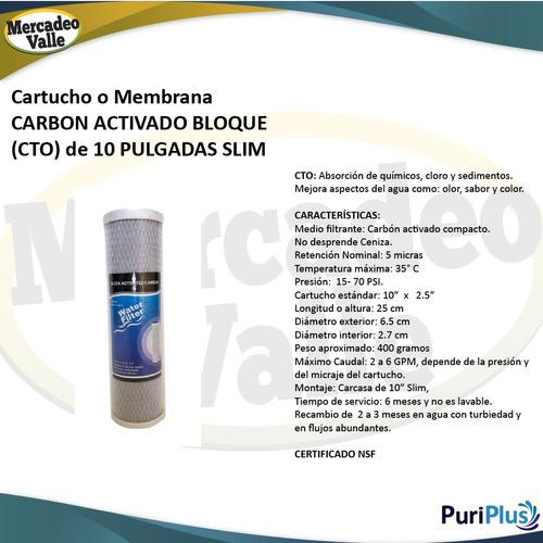 membrana carbón activado bloque para filtro agua 10 pulgadas