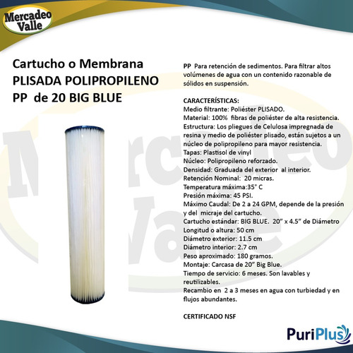 membrana filtro agua plisada 20 micras 20 pulgadas big blue