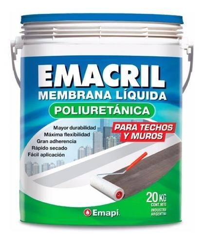 membrana liquida emacril poliuretanica x 20kg techos y muros