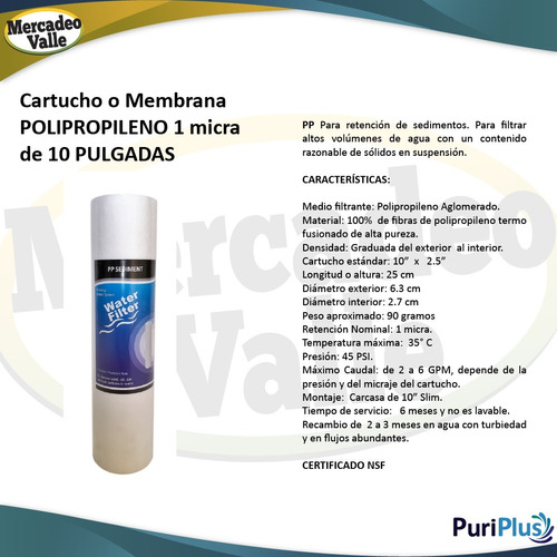 membrana polipropileno pp 1 micra sedimentos filtro de agua