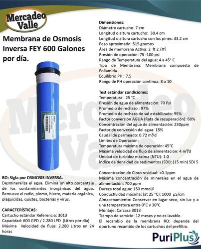 membrana ro osmosis inversa 600 galones  y carcasa ro 3013