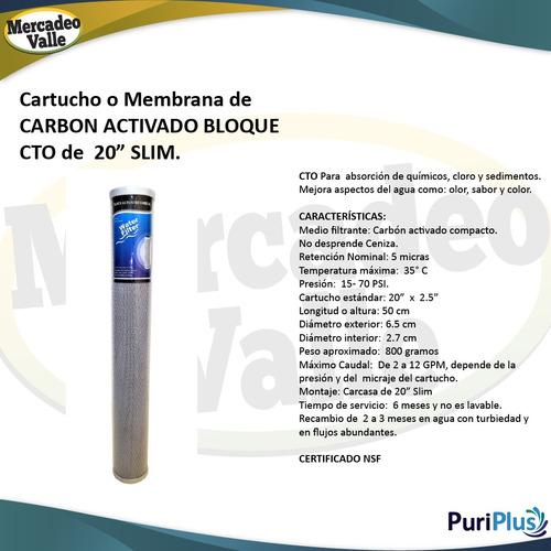 membrana slim 20 pulgadas carbón bloque repuesto filtro agua