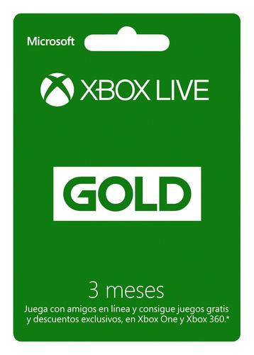 membresias 3 meses xbox live gold para xbox 360 / one codigo