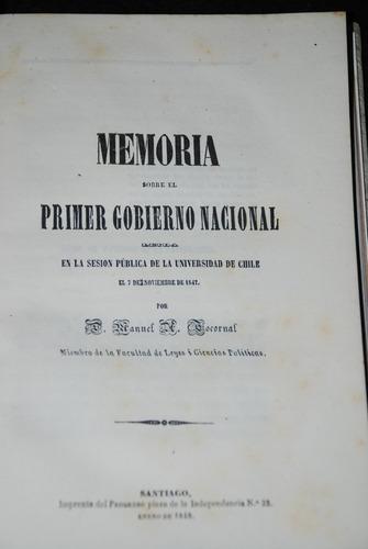 memoria 1er gobierno nacional tocornal 1848 toro y zambrano