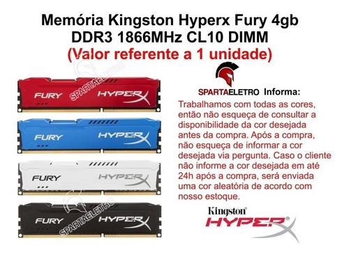 memória 4gb 1866mhz ddr3 kingston hyperx fury