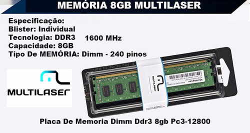 memoria 8gb ddr3 1600mhz multilaser pc3-12800