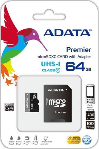 memoria adata micro sd hc sdxc 64gb uhs-i clase 10 factura!!