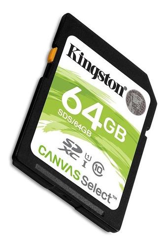 memoria cámara sd hc kingston canvas 64gb c10 80mb/s hd 1080