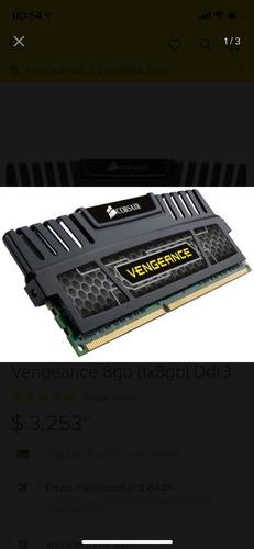 memoria corsair vengeance ddr3 1600mhz 8gb (1x8)