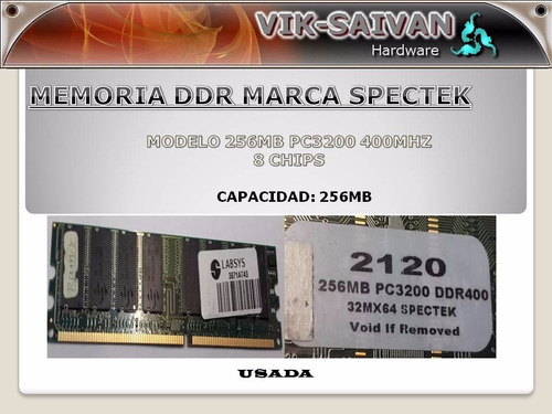 memoria ddr spectek 256mb pc-3200 400mhz 8 chips  22