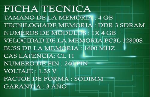 memoria ddr3 4 gb lap top bajo voltaje pc3l 12800
